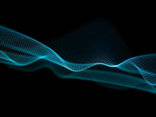 Renderização 3d de um fluxo abstrato com design de onda de partículas