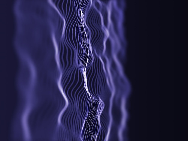 Renderização 3d de um fluxo de partículas moderno com profundidade de campo rasa
