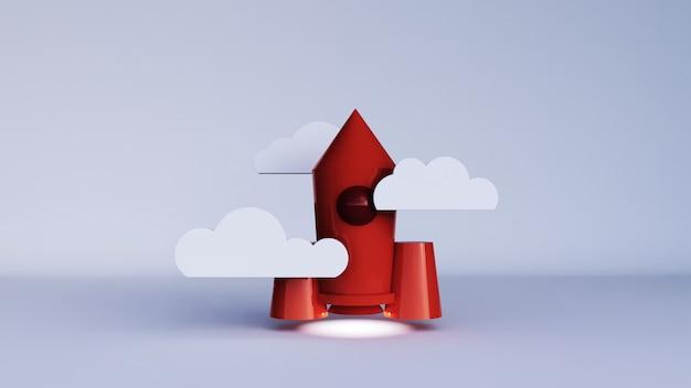Renderização 3d de um foguete laranja com nuvem em um fundo branco