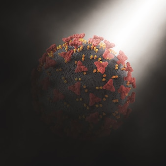 Renderização 3d de um fundo abstrato com célula do vírus covid 19