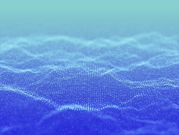 Renderização 3d de um fundo abstrato com um design de partículas cibernéticas