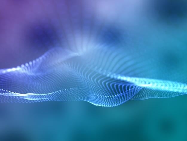 Renderização 3d de um fundo abstrato de comunicações com partículas cibernéticas fluindo