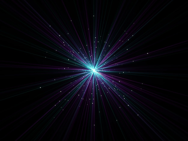 Renderização 3d de um fundo abstrato de efeito de zoom com partículas explodindo