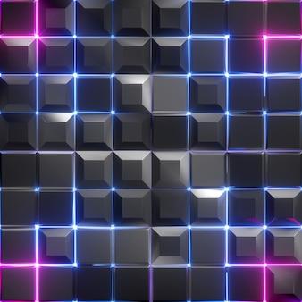 Renderização 3d de um fundo abstrato facetado com luz de néon rosa azul brilhante