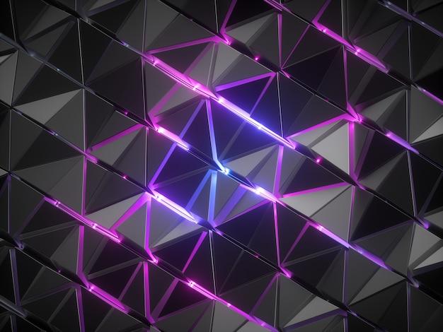 Renderização 3d de um fundo abstrato facetado preto com linhas de néon brilhante azul rosa