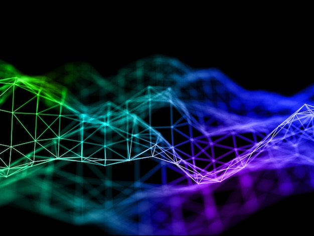 Renderização 3d de um fundo colorido de comunicações de rede com design de baixo poli