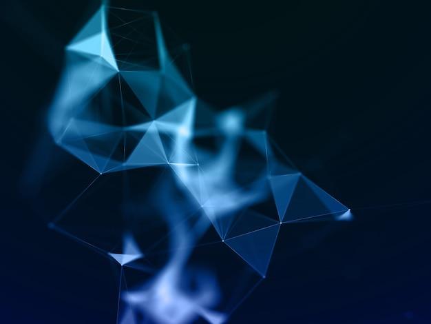 Renderização 3d de um fundo de comunicações de rede com design de poliplexo baixo