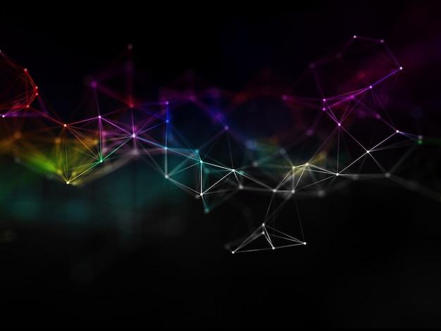 Renderização 3d de um fundo de comunicações de rede com design plexo