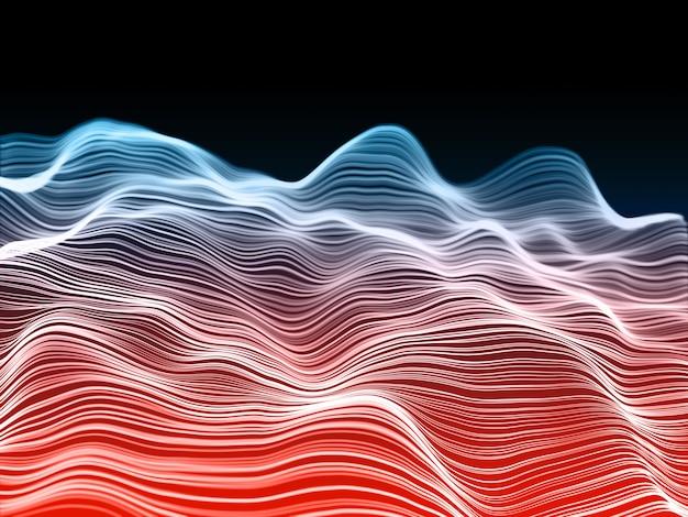 Renderização 3d de um fundo de comunicações de rede com ondas fluentes