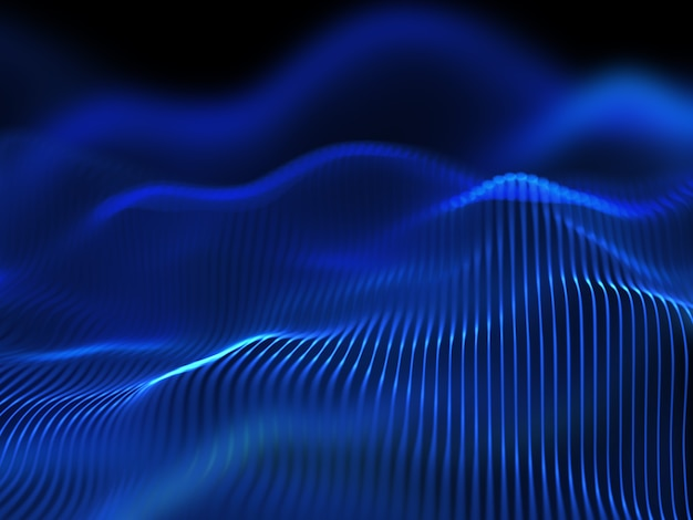 Renderização 3d de um fundo de techno digital de linhas fluidas