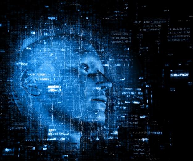 Renderização 3d de um fundo de tecnologia com código sobre cabeça masculina