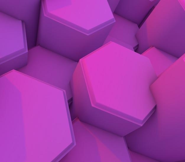 Renderização 3d de um fundo de tecnologia com hexágonos de extrusão rosa