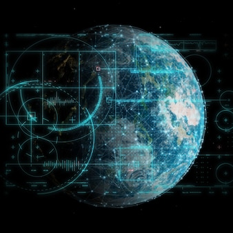 Renderização 3d de um fundo de tecnologia global e comunicações de rede