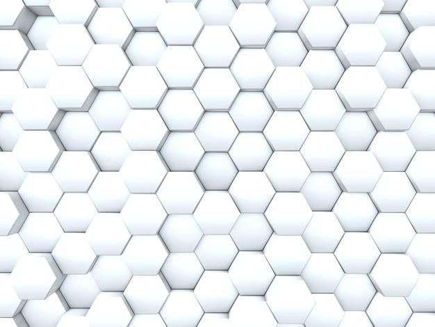Renderização 3d de um fundo de uma parede de hexágonos de extrusão
