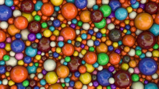 Renderização 3d de um fundo feito com um monte de esferas multicoloridas em tamanhos diferentes