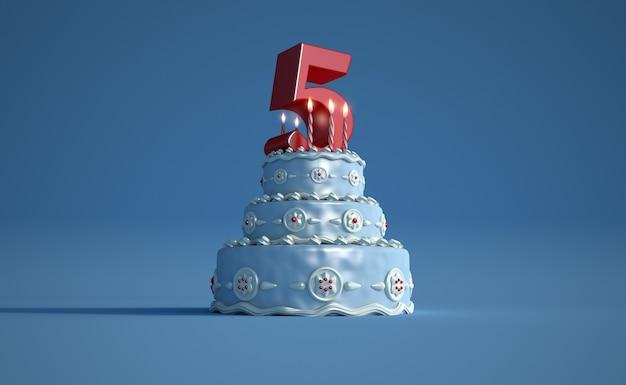 Renderização 3d de um grande bolo de aniversário azul com um grande número cinco no topo Foto Premium