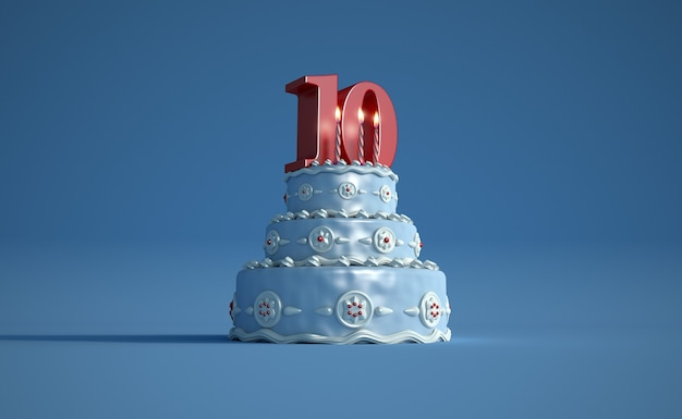 Renderização 3d de um grande bolo de aniversário azul com um grande número dez no topo