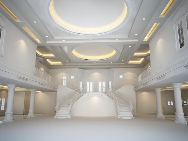 Renderização 3d de um grande salão branco luxuoso