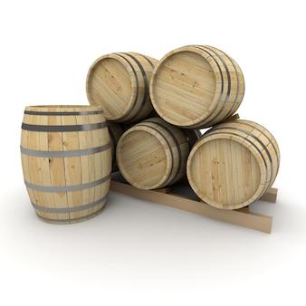 Renderização 3d de um grupo de barris de vinho em um branco