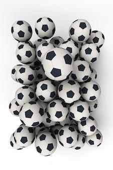Renderização 3d de um grupo de bolas de futebol