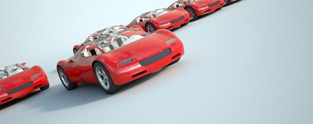 Renderização 3d de um grupo de carros esportivos vermelhos conversíveis de corrida