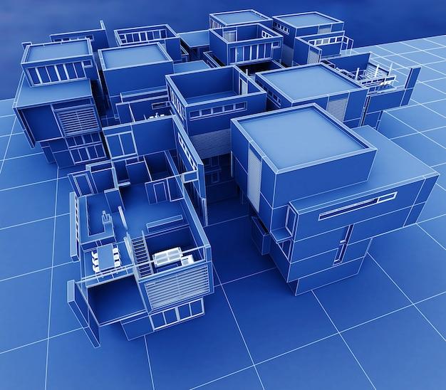 Renderização 3d de um grupo de edifícios profissionais