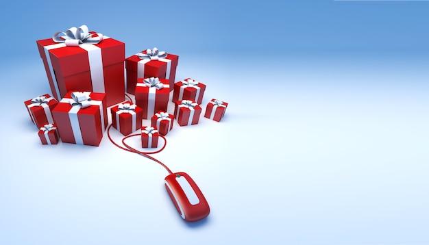 Renderização 3d de um grupo de presentes vermelhos e brancos conectados a um mouse de computador contra um fundo azul