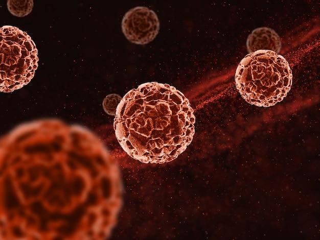 Renderização 3d de um histórico médico com células de vírus abstratas