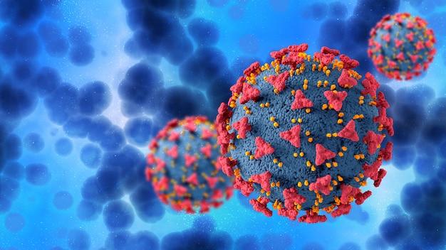 Renderização 3d de um histórico médico com células do vírus covid 19