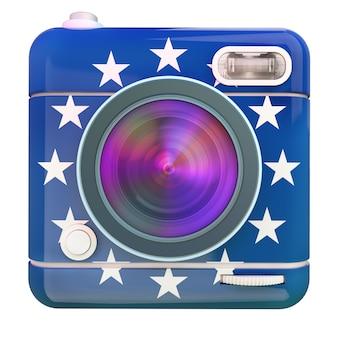 Renderização 3d de um ícone de câmera fotográfica com as cores da bandeira da união europeia