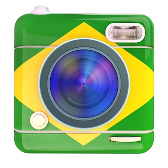 Renderização 3d de um ícone de câmera fotográfica com as cores da bandeira do brasil