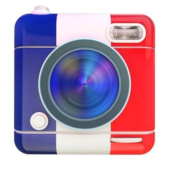 Renderização 3d de um ícone de câmera fotográfica com as cores da bandeira francesa