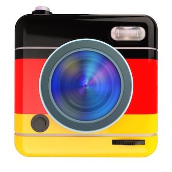 Renderização 3d de um ícone de câmera fotográfica com as cores de uma bandeira alemã
