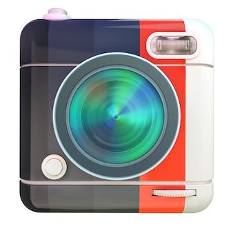 Renderização 3d de um ícone de câmera fotográfica com cores preto, vermelho e branco