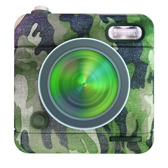 Renderização 3d de um ícone de câmera fotográfica com padrão de camuflagem