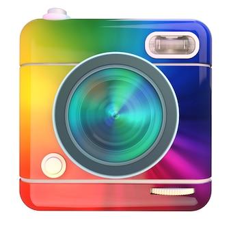 Renderização 3d de um ícone de câmera fotográfica com padrão de cores do arco-íris