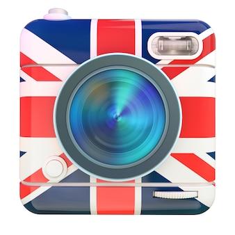 Renderização 3d de um ícone de câmera fotográfica com um padrão de bandeira do reino unido