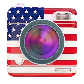 Renderização 3d de um ícone de câmera fotográfica com um padrão de bandeira dos eua Foto Premium