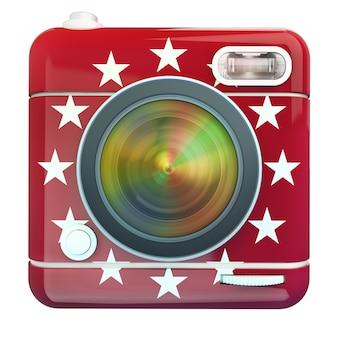 Renderização 3d de um ícone de câmera fotográfica vermelho com estrelas brancas