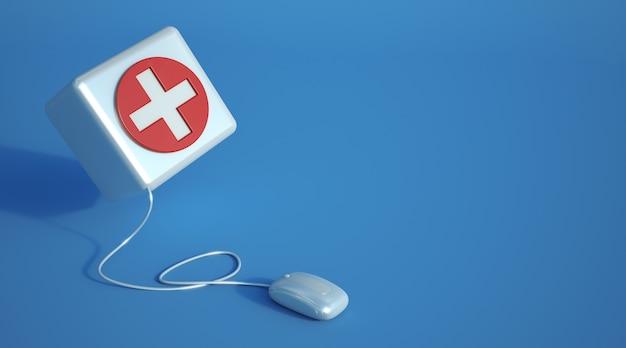 Renderização 3d de um ícone médico conectado a um mouse de computador