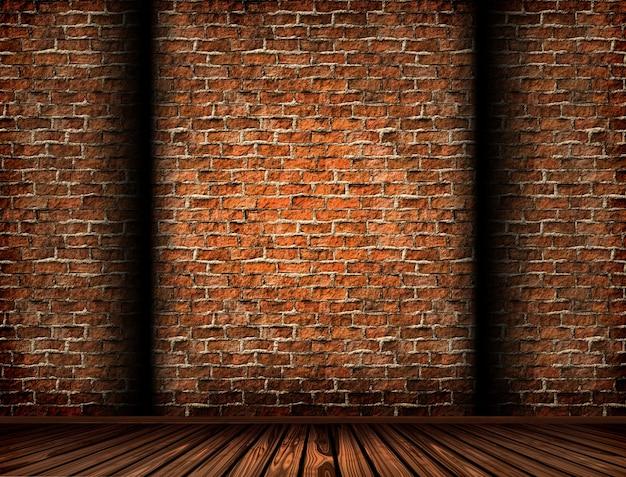 Renderização 3d de um interior com uma parede de tijolos grunge