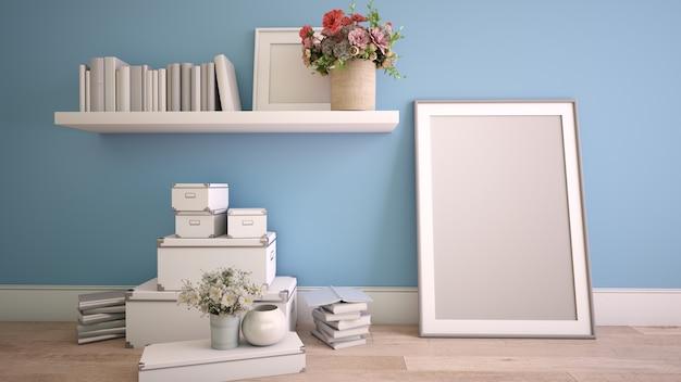 Renderização 3d de um interior de casa no processo de decoração com uma moldura de pôster simulada