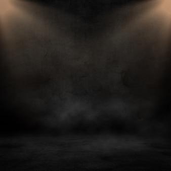 Renderização 3d de um interior de grunge com holofotes brilhando