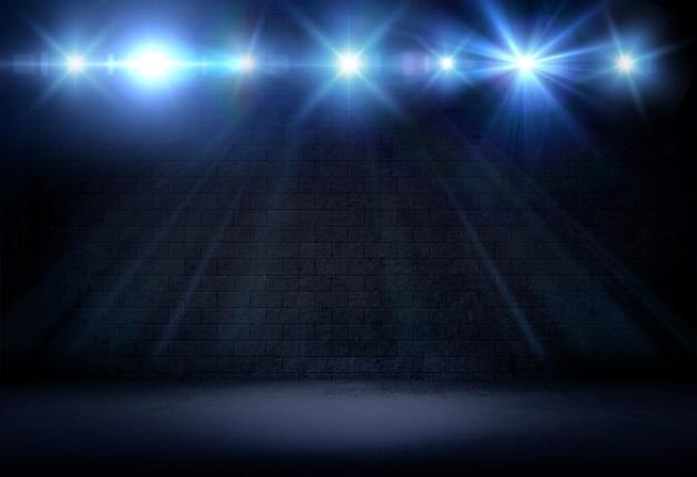 Renderização 3d de um interior em estilo grunge com holofotes brilhando