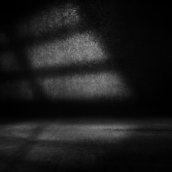 Renderização 3d de um interior grunge escuro com luz das janelas laterais