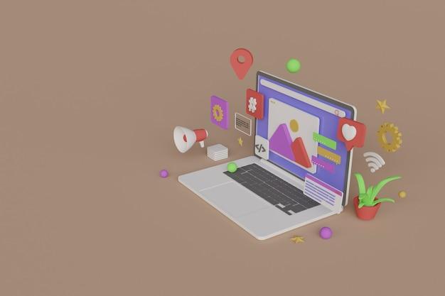 Renderização 3d de um laptop com ícones ao redor em fundo bege.