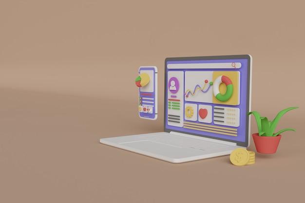 Renderização 3d de um laptop com ícones e gráficos em fundo bege.