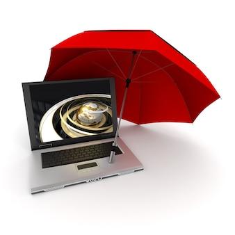 Renderização 3d de um laptop com uma terra dourada na tela, protegida por um guarda-chuva