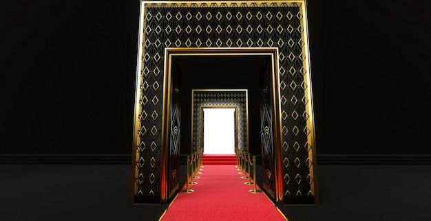 Renderização 3d de um longo tapete vermelho entre barreiras de corda com escada e porta no final