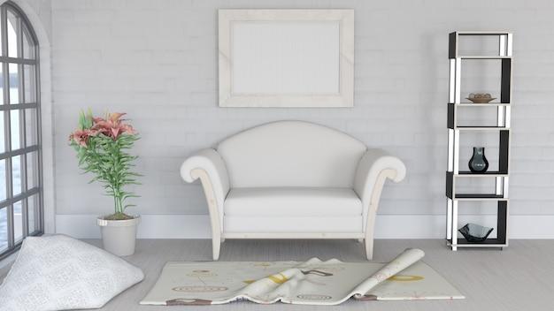Renderização 3d de um lounge lounge moderno